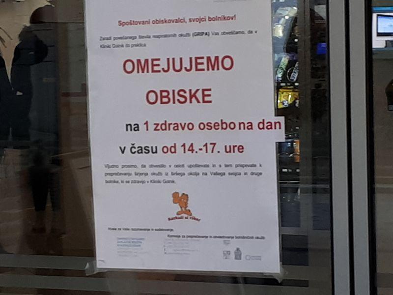 Bolniški oddelek 700 še vedno zaprt za obiske